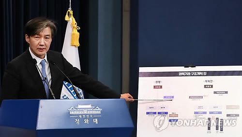 改革案について説明する青瓦台のチョ国(チョ・グク)民政首席秘書官=14日、ソウル(聯合ニュース)