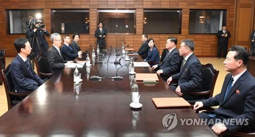 実務接触は15日、南北軍事境界線がある板門店の北朝鮮施設「統一閣」で開かれた(資料写真、韓国統一部提供)=(聯合ニュース)