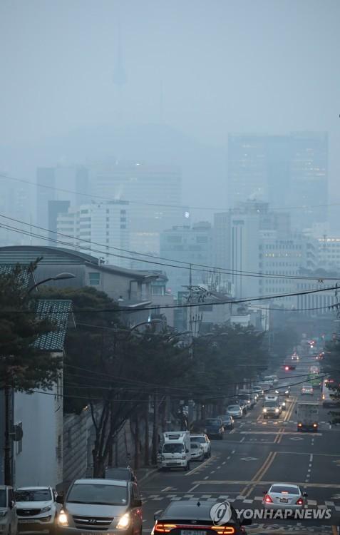 미세먼지 심한 날 서울시 풍경