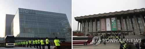 芸術団の公演が予定されている江原道の江陵アートセンター(左)とソウルの国立劇場(資料写真)=(聯合ニュース)