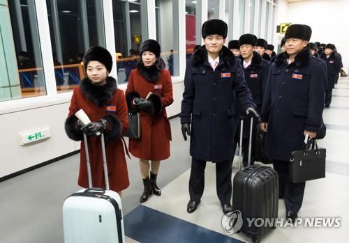 韓国に到着した北朝鮮選手団