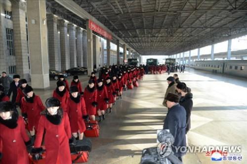 북한 조선중앙통신, 예술단 출발 사진 보도
