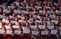 朝鲜拉拉队挥舞韩半岛旗