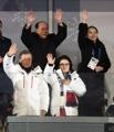韩朝领导人向韩朝联队挥手致意
