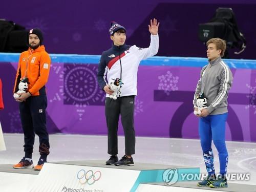 韩短道速滑选手林孝俊摘金