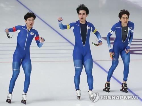 スピードスケート男子団体追い抜き1回戦で準決勝進出を決めた韓国(資料写真)=(聯合ニュース)