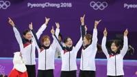 여자 쇼트트랙 대표팀, 3000m 계주 금메달…올림픽 2연패