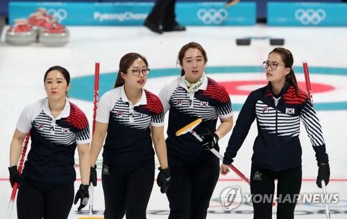 OARとの試合を終えた韓国の選手=21日、江陵(聯合ニュース)