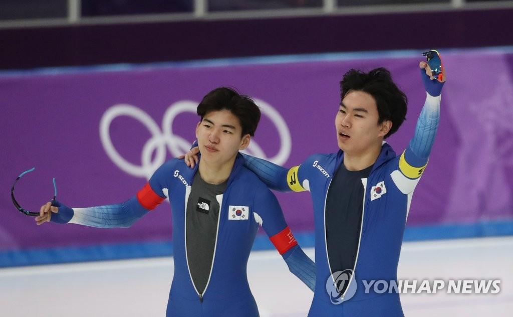 평창올림픽 당시 김민석(오른쪽)과 정재원