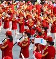 N. Korean cheerleaders perform in S. Korea