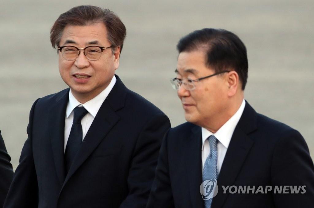 정의용 국가안보실장과 서훈 국정원장