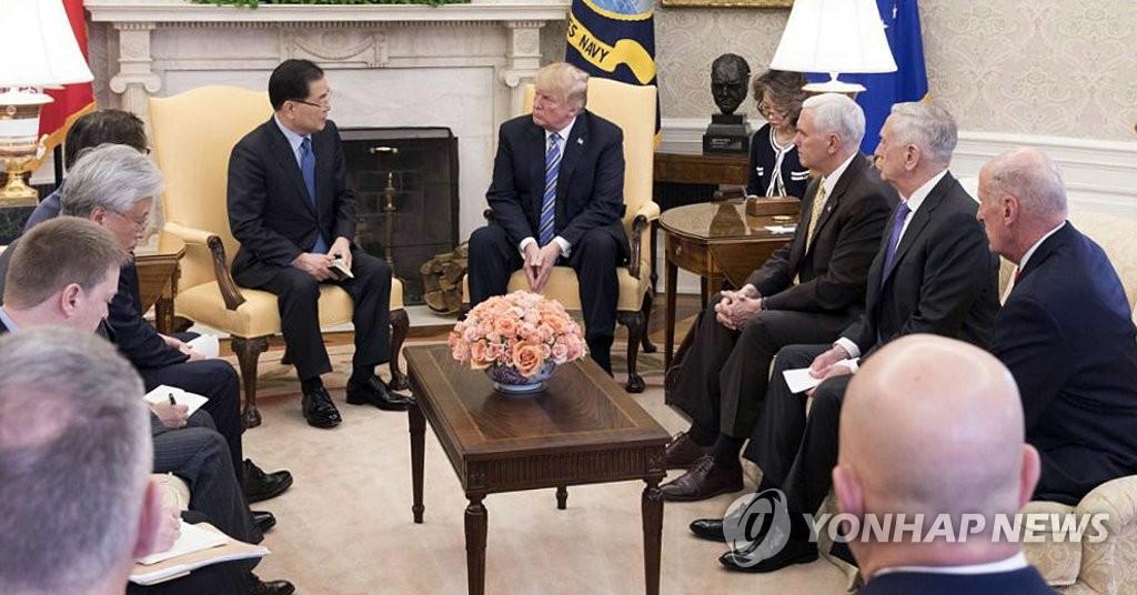 트럼프 대통령에게 방북 성과 설명하는 정의용 실장