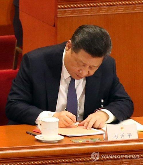 '시 주석도 찬성표?' 개헌안 투표하는 시진핑 주석