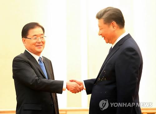 3月12日下午,在北京人民大会堂,韩国国家安保室长郑义溶(左)同中国国家主席习近平握手。(韩联社)
