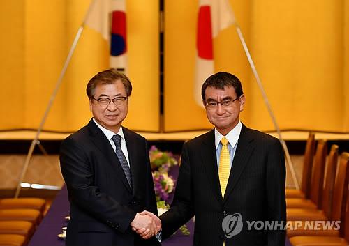 3月12日,在日本外务省,韩总统特使、国家情报院院长徐薰(左)同日本外务大臣河野太郎举行会晤。图为双方握手合影。(韩联社)