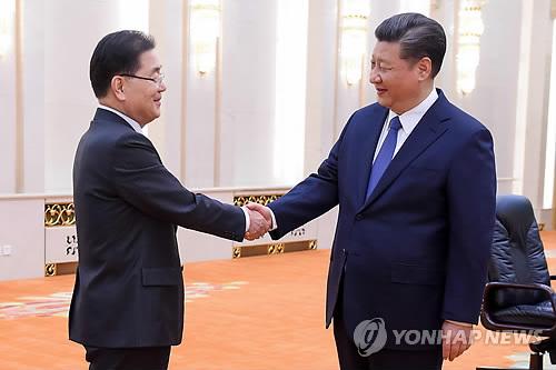 정의용 안보실장, 시진핑 면담 2018.3.12