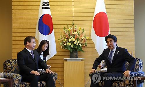 3月13日,在日本首相官邸,徐薰(左)同日本首相安倍晋三举行会谈。(韩联社)
