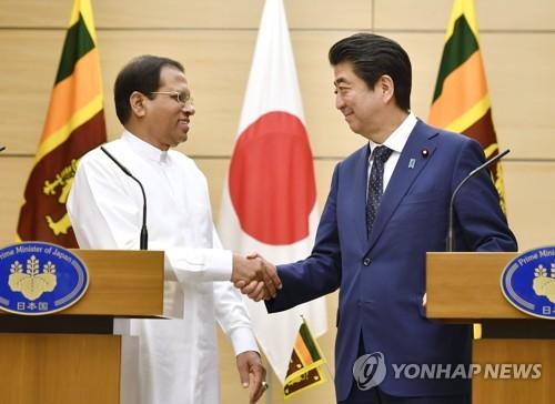 아베 일본 총리-시리세나 스리랑카 대통령 기자회견