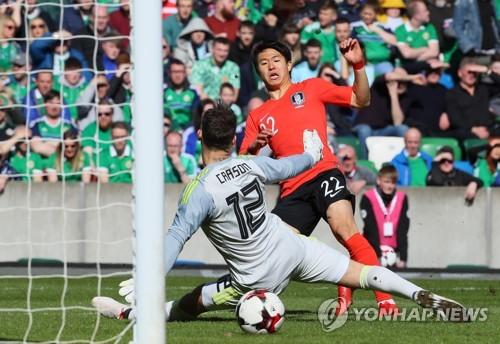 '권창훈 선제골' 한국축구, 북아일랜드와 1-1 전반 종료