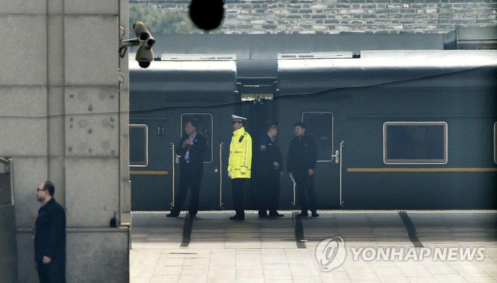 베이징역서 대기 중인 북한 특별열차