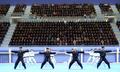El grupo surcoreano de demostración de taekwondo
