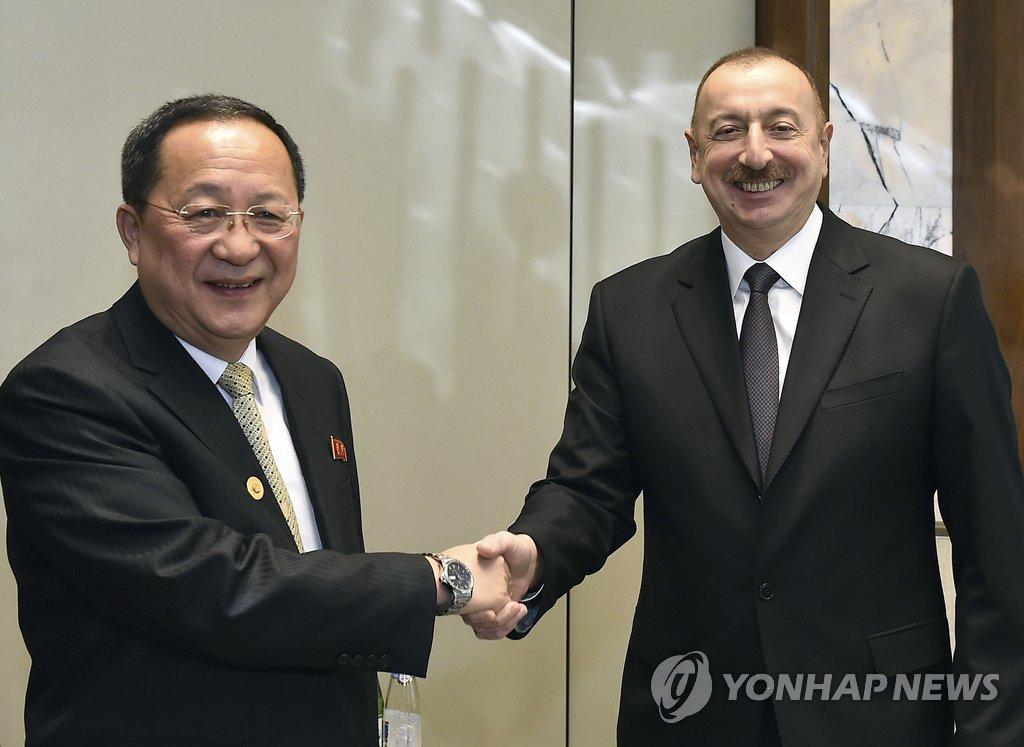 아제르바이잔 대통령 만나는 리용호 北외무상