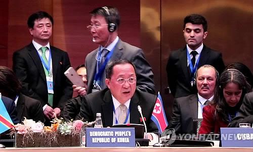아제르바이잔 바쿠 비동맹운동 각료회의서 연설하는 북한 리용호 외무상 2018.4.5