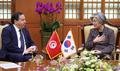 Avec le chef de la diplomatie tunisienne