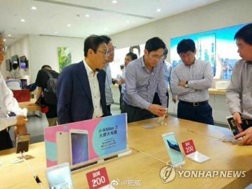 '중국 출장' 이재용, 현지 스마트폰 매장 방문