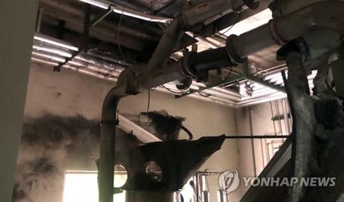 용접 중 폭발사고 난 한전원자력연료 건물 내부