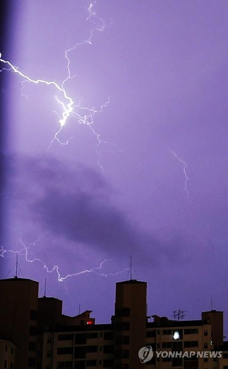 暴雨来袭闪电点亮夜空