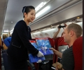 Journalistes étrangers dans un avion nord-coréen