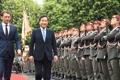 韩总理检阅奥国仪仗队