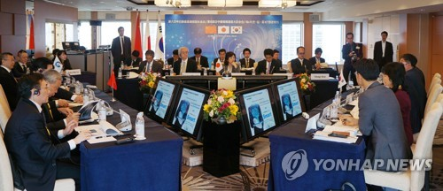 韓中日情報通信相会合の様子(科学技術情報通信部提供)=28日、ソウル(聯合ニュース)
