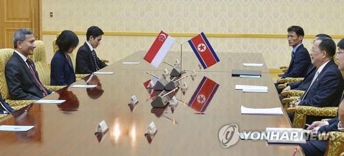 회담하는 북한-싱가포르 외무장관