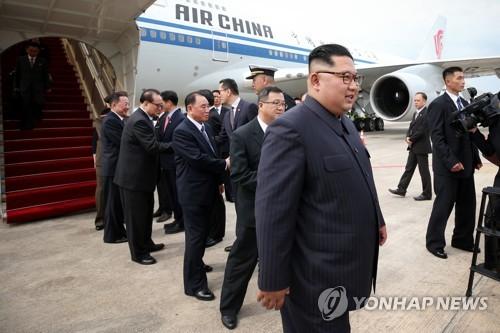 싱가포르 도착한 북한 김정은 위원장