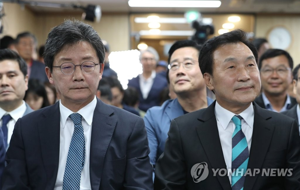무거운 표정의 유승민과 손학규