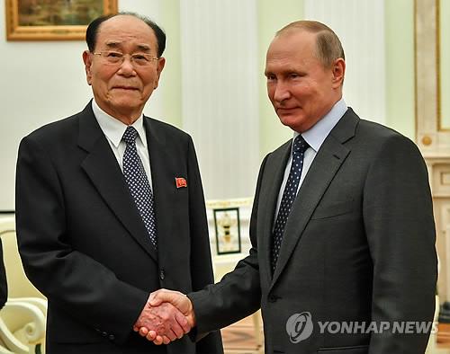 악수 나누는 푸틴과 김영남