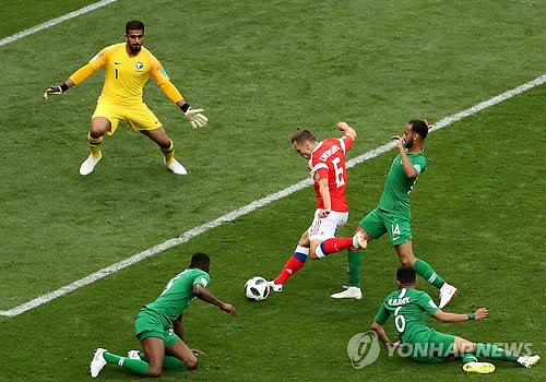 -월드컵- 개최국 러시아, 개막전에서 사우디 5-0 대파