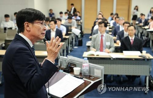 """김상조 """"'퀄컴 1조 제재' 비견될만한 사건 다루고 있다""""(종합)"""