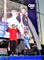 Rappers Loco, Simon Dominic with football fans