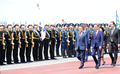 Moon inspects honor guard in Moscow