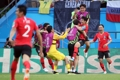 فرحة لاعبي المنتخب الكوري الجنوبي بانتصارهم على ألمانيا