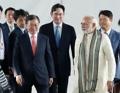 韩印领导人出席三星工厂竣工仪式