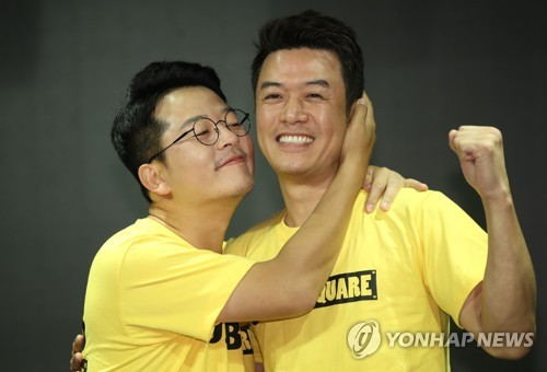 Comedians Kim Jun-ho and Kim Dae-hee at event