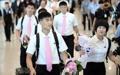 朝鲜乒乓球代表团抵韩