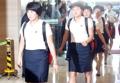 朝鲜乒乓球代表团抵达酒店