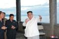 Kim Jong-un at hotel construction site