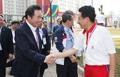 韓国首相 北朝鮮選手団長を激励