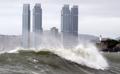 台風接近で荒れる海
